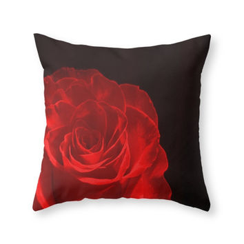 Society6 Rose Red Throw Pillow