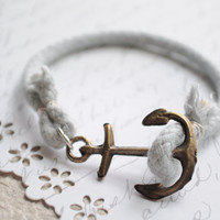 Summer Bracelet No.41-- Light stormy grey and Antiqued bronze anchor clasp