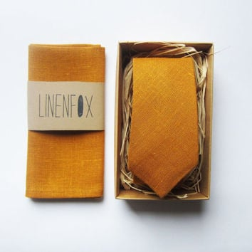 Set for Men Mustard Color Skinny Tie And Pocket Square 100% linen