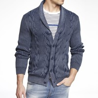 ACID WASH CABLE KNIT SHAWL COLLAR CARDIGAN