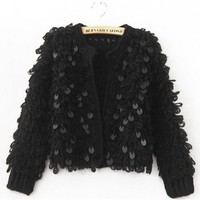 Black Long Sleeve British Style Loose Korean Style Sequins Women Knitting Cardigans One Size @WH0373b $21.99 only in eFexcity.com.