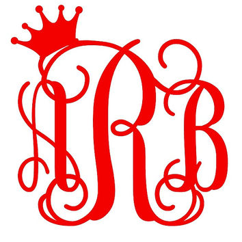 Custom Glitter Monogrammed Crowned Initials Vinyl Decal Mix & Match MADE TO ORDER Free Shipping