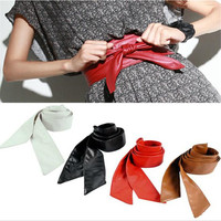 circle soft leather bow body shaping bands wide belt