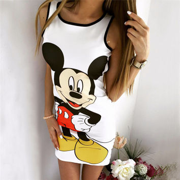 Hot Sale Women's Fashion Zippers Backless Mouse Print Sexy One Piece Dress [9266408844]