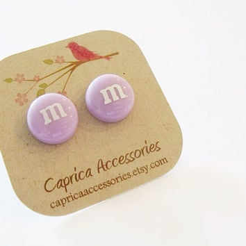 Light purple m&m earrings