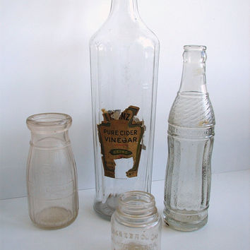 Vintage Clear Glass Bottles Set of 4  Instant by ThirdShift