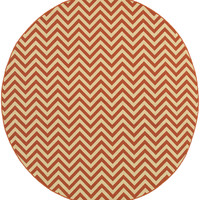 "Riviera 4593P Geometric Orange-Ivory Area Rug (7'10"" Round)"