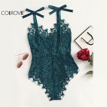 COLROVIE Ribbon Floral Lace Bodysuit Bow Tie Shoulder Women Green Cute Summer Bodysuits