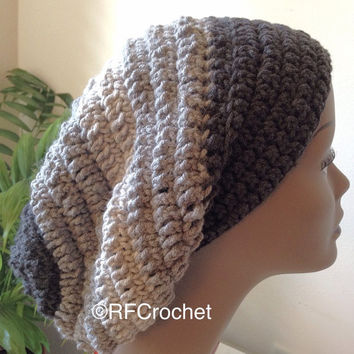 3-Tone Gray Beanie | Adult Crochet Beanie  | Wide Band Slouchy Beanie | Charcoal Gray | Heather Gray | Light Gray | Slouchy Hat