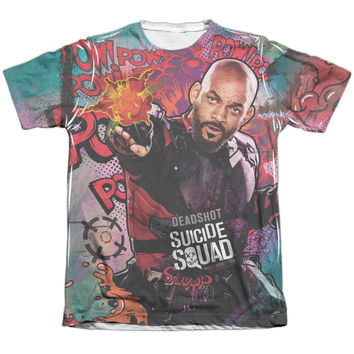 SHORT SLEEVE REGULAR FIT - SUICIDE SQUAD-DEADSHOT PSYCHEDELIC CARTOON