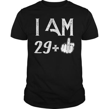 Middle Finger I Am 29 Plus 30 birthday shirt Premium Fitted Guys Tee