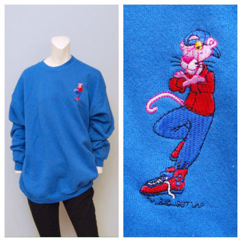 "Vintage 1990's Blue Cartoon Network ""Pink Panther"" Sweatshirt - New With Tags (NWT) Never Worn - Size Extra Large XL"