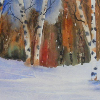 Art, Fine Art-Watercolor Painting of Birch Trees in the Snow