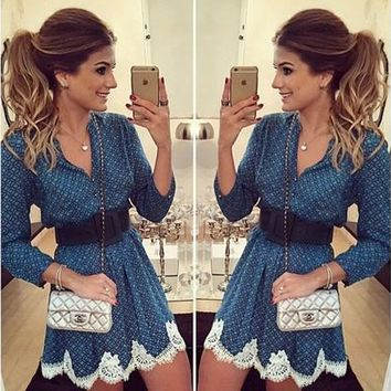 Womens Sexy BOHO Long Sleeve Lace Short Mini Party Evening Ladies Dress [8042410439]