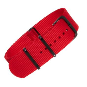 22mm Red Nylon NATO - Black Buckle