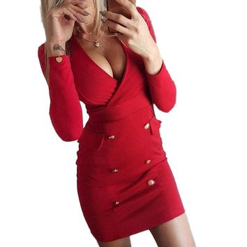 Spring Women Dresses Elegant Sheath Sexy Clubwear Office Lady Party Dress V-Neck Winter Buttons Red Dress Club 2XL M0139