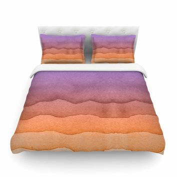 "Kess Original ""Ombre Sunrise"" Orange Watercolor Featherweight Duvet Cover - Outlet Item"