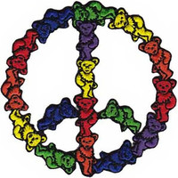 Grateful Dead Iron-On Patch Bear Peace Sign