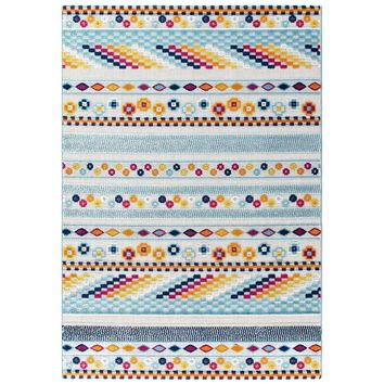 Reflect Cadhla Vintage Abstract Geometric Lattice 5x8 Indoor and Outdoor Area Rug