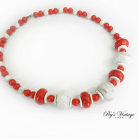 Vintage Lucite Bead Necklace, Red & White Chunky Bead Necklace, Vintage Costume Jewelry