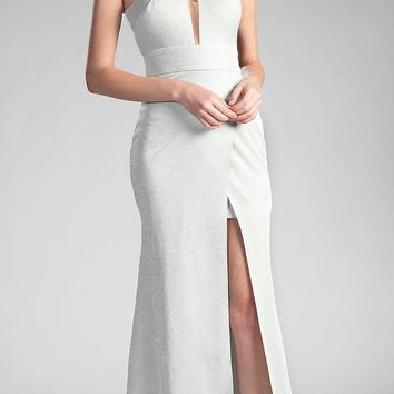 Silver Long Prom Dress Halter Cut Out Back with Slit