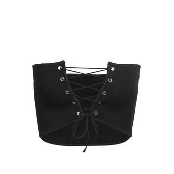 Ulzzang Hollow Out Bandage Tube Top