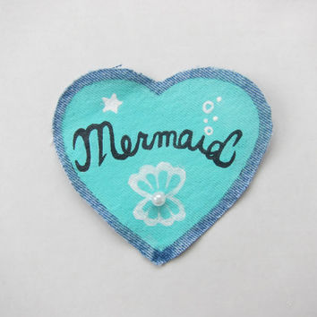 "Kawaii Hand Painted Aqua ""Mermaid"" Sew-On Patch on Vintage Denim with Pearl Bead Accent"