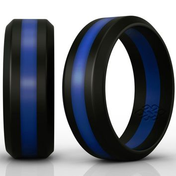 Thin Blue Line Silicone Rings