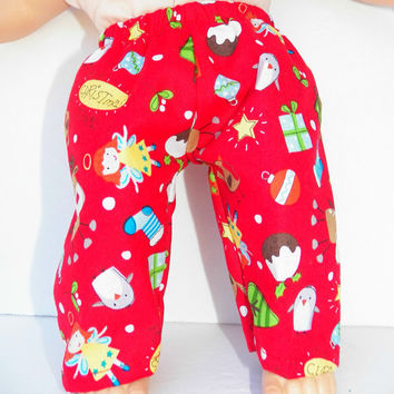 "American Girl Bitty Baby Clothes 15"" Doll Clothes Red Christmas Tree Reindeer Stocking Pants"