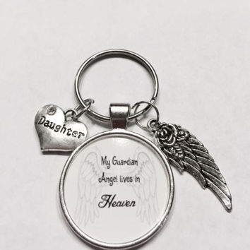 Daughter My Guardian Angel Lives In Heaven Memory Wing Miss You Keychain