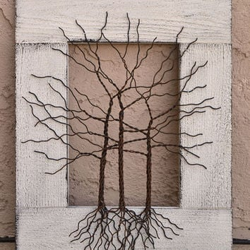 """Amy Giacomelli Original Wire Tree Abstract Sculpture Painting ... Wire tree on distressed salvaged frame, ... Great gift size 14"""" x 17"""""""