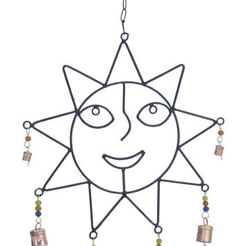 Crafted Wind Chime With Sculpted Sun Face