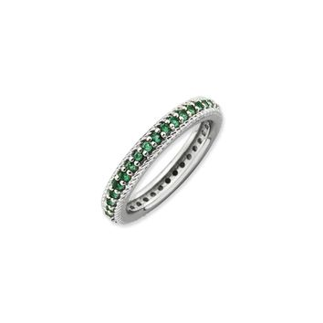 3.25mm Sterling Silver Stackable Created Emerald Eternity Ring