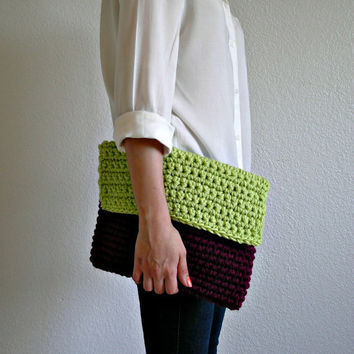 The Colmar Clutch  Fuschia & Neon Lime Green size by deroucheau