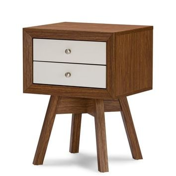 Warwick Walnut And White Two Tone Modern Nightstand | Overstock.com Shopping - The Best Deals on Nightstands