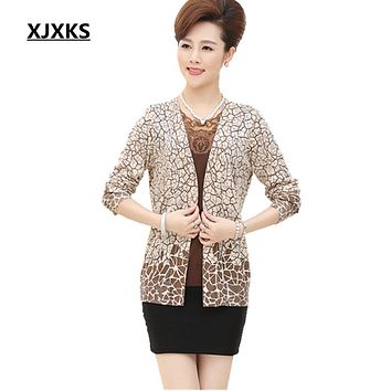 New 2017 Mother clothing really two piece set cardigan sweater plus size women's spring and autumn female cardigans set