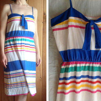 Vintage dress | 1970s rainbow striped sundress
