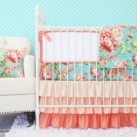 Coral Camila Ruffle Baby Bedding | Ruffle Crib Bedding Set