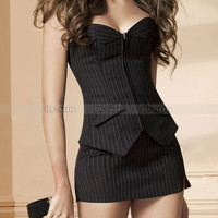 Sexy Black Pinstripe Overbust Corset Office Lady Lace up Bustier Costume S M L XL 2XL