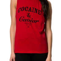 The Cocaine & Caviar Muscle Tank in Red and Black