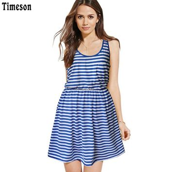 Summer New O Neck Striped Tank Dress Sleeveless Slim Fit High Waist Casual Dress With Pocket Girl Blue White Beach Tunic