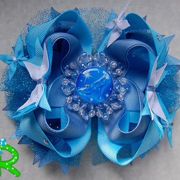 Cinderella 2015 Hair Bow ,Princess  Ott Bow, Disney Layered Bow , Blue Stacked Bow , Butterfly Cinderella bow