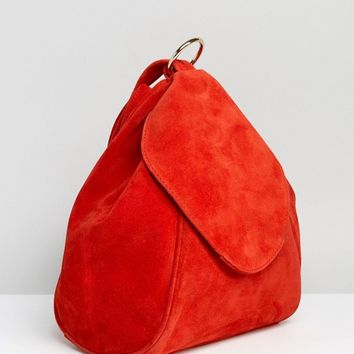 ASOS Suede Minimal Backpack With Ring Pull Detail at asos.com