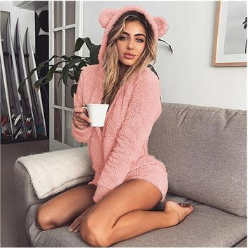 ZOOLIM Winter Warm Pajama Kigurumi for Adults Hooded Rabbit Ear Fleece Onesuit Women One-piece Animal Jumpsuit Pajamas for Adults
