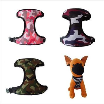 1pc Camo Mesh Vest Harness For Dogs Adjustable Breathable Pet Cat Strap Vest Collar Dog Lead Traction Belt Puppy Dog Harness