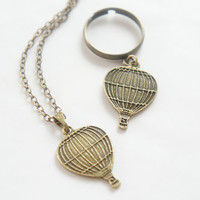 Cute Antiqued Brass Hot Air Balloon Necklace or Ring - C0050