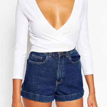 Long Sleeve Plunging Neck Surplice Front Cropped Top