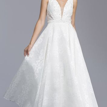 Beaded Lace Wedding Gown Deep V-Neck with Sheer Inset