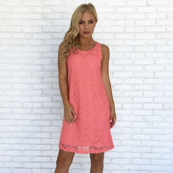 Connect the Dots Shift Dress in Coral