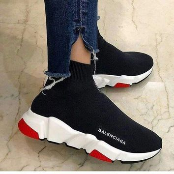 Balenciaga 2018 trendy men and women fashion leisure wild sneakers F black/red/white